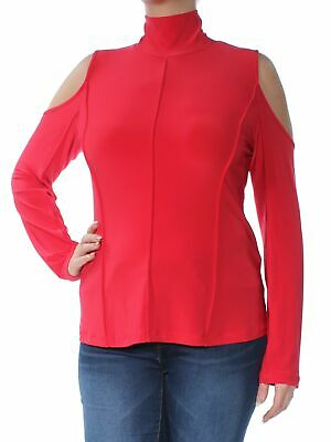2bc71d14dea DKNY $59 Womens New 1118 Red Cut Out Cold Shoulder Long Sleeve Tunic Top M B