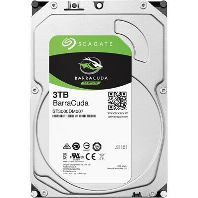 "Seagate BarraCuda 3TB 3.5"" SATA Internal Desktop Hard Drive HDD 5400RPM 256MB"