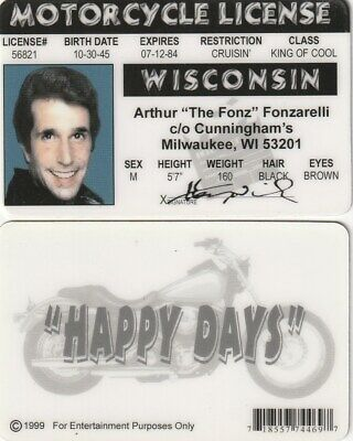 TV Show Legend Henry Winkler the FONZ fake I.D. Card  Happy Days Drivers License
