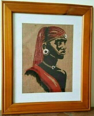 Striking African Man Tribesman Tribal Painting on Hessian, Vintage (?)Two Toned