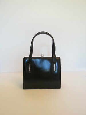 Black Leather Handbag With Silver Trim - 1950s