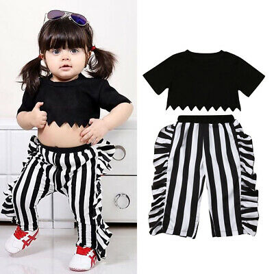 2019 Summer Toddler Girl Clothes Crop Tops T-shirt Stripe Pants Trousers Sunsuit