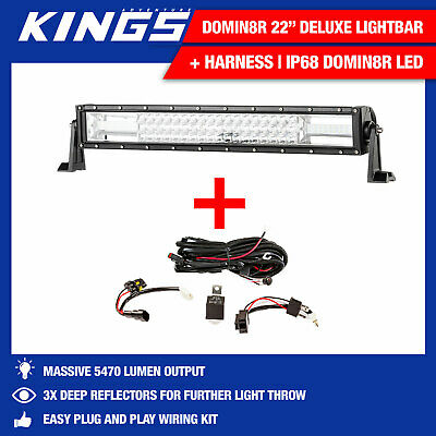 22inch Deluxe Light Bar Wiring Harness included LED Spot Flood Work 4WD
