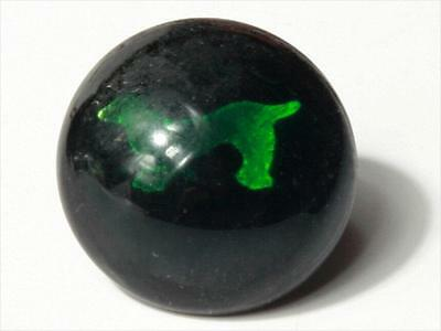 (1) 16mm Antique Victorian Czech lampworked green foil dog art glass button