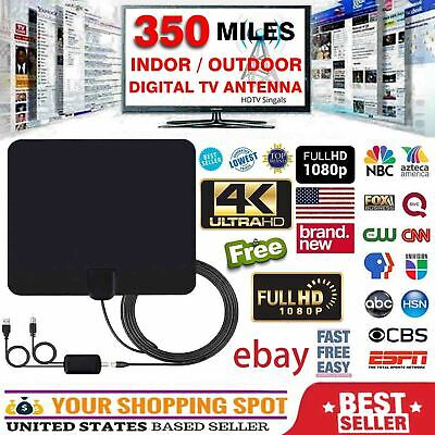 4K 1080P Free HD programs Digital HDTV Antenna UHF VHF FM 350 Miles 13FT Cable