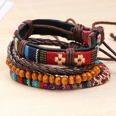Handmade Men Women Punk Multilayer Leather Bracelet Braided Bangle Wristband Set