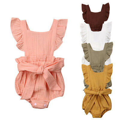 Newborn Baby Girl Clothes Ruffle Summer Romper Bodysuit Outfit Sunsuit