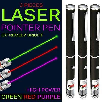 3PCs 1mW High Power Laser Pointer Pen Green Red Purple Color Light Laser Beam AU