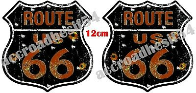AUTOCOLLANT / STICKER x2  ROUTE 66 CUSTOM 120 mm auto moto harley, indian us