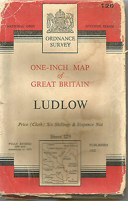 LUDLOW - Sheet 129 ORDNANCE SURVEY  One Inch Fold Out Vintage Map   B89
