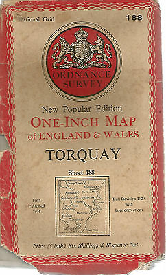 TORQUAY - Sheet 188 ORDNANCE SURVEY  One Inch Fold Out Vintage Map   B99