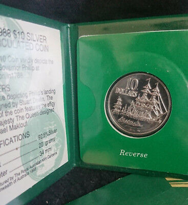 1988 Ten Dollar Silver  - Uncirculated Coin* - *Bicentennial Tall Ships* - Unc