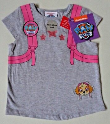 Girls Paw Patrol T-Shirt~Skye with Backpack detail~Age 2-3 Years~BNWT~Grey/Pink