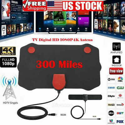 Flat Indoor Digital TV Antenna 350 Miles Range 1080P Signal Booster Amplifier