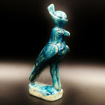 RARE Egyptian Antique Faience Statue Figure of Falcon GOD Horus