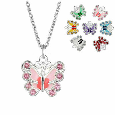 Children's Girl's Jewellery Crystal Butterfly Necklace & Sterling Silver Chain