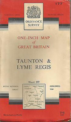 TAUNTON - Sheet 177 ORDNANCE SURVEY  One Inch Fold Out Vintage Map   B41