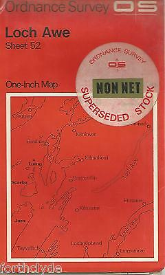 LOCH AWE  - Sheet 52- ORDANCE SURVEY One Inch Fold Out Vintage Map B19