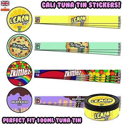 Cali Tin Labels Tuna Can Stickers PressItIn Self Seal Tin Labels 100ml Lids UK