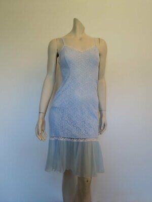1950s Vintage Blue Nylon Lace Slip With Ruffle - Bust 86 cm
