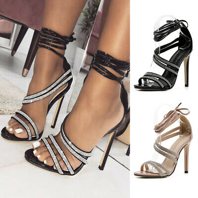 Sexy Women Cross Lace Up Diamante Shoes Party Ladies High Heels Open Toe Sandals