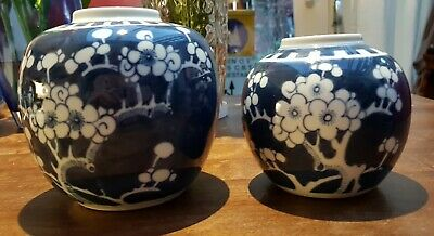 2x Chinese Antique Prunus Blossom Ginger Jar Blue White Marked Double Ring