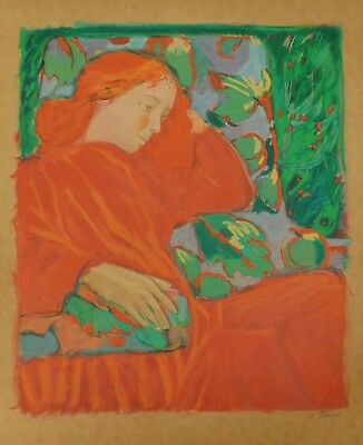 Lithografie Claudia Steine - Lady in Red II