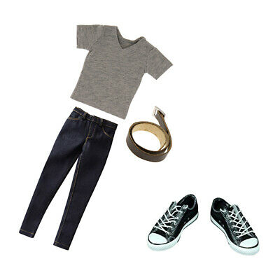 1/6 Male Clothes T-shirt Jeans Canvas Shoes for 12inch Sideshow Hot Toys