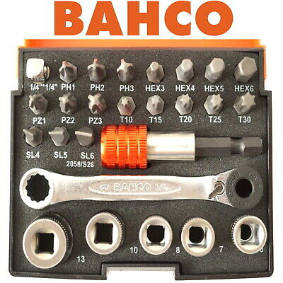 "Bahco 26 Piece 1/4"" Mini Ratchet Wrench,Metric Sockets,Screwdriver Bits 2058/S26"