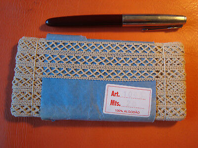 Antique Portuguese fabric lace trim ribbon sewing craft 100% cotton 20 metters !
