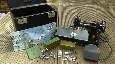 1955 Singer 221k Featherweight Portable Sewing Machine, Oiled and Serviced