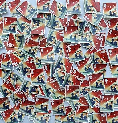 100 unfranked Christmas 1st class stamps, off paper, no gum, excellent condition