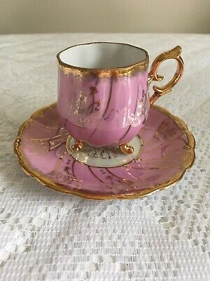 Vintage Shafford Japan Three Footed Shabby Chic Pink & Gold Teacup & Saucer