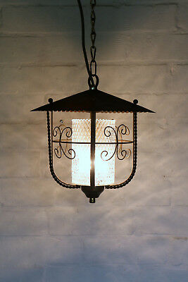 A Vintage French Country Toleware & Glass Porch Pendant Ceiling Light Lantern