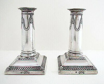 Pair of ANTIQUE Victorian 1900 English Solid Sterling Silver Candlesticks