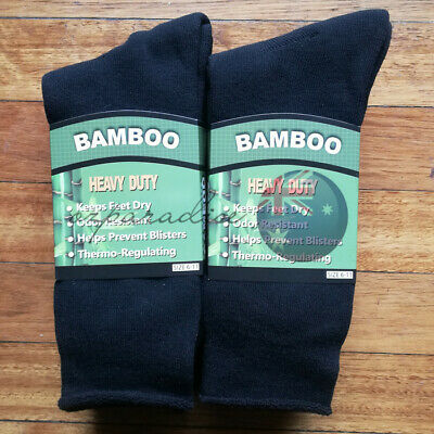 6Prs 6-11 BAMBOO SOCKS Men's Heavy Duty Premium Thick Work BLACK Bulk New