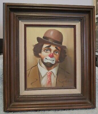 NICE VINTAGE SIGNED PAINTING ORIGINAL Oil CLOWN ON CANVAS WOOD FRAME W SHALTON