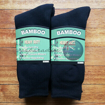6Prs 11-14 BAMBOO SOCKS Men's Heavy Duty Premium Thick Work BLACK Bulk New