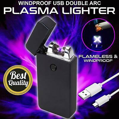 Lighter Electric Rechargeable Double Arc USB Windproof Flameless Plasma Torch OZ