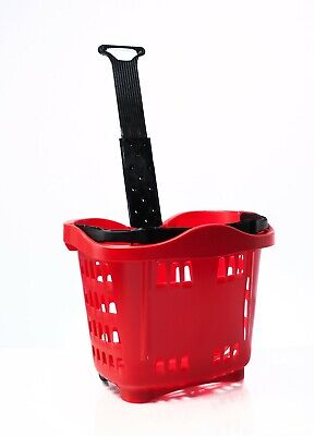 Plastic Wheeled Shopping Trolley Basket  - 43 Litre Various Colours