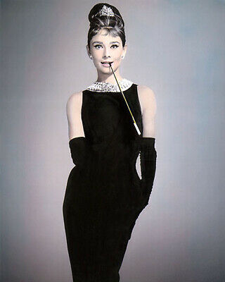 "AUDREY HEPBURN BREAKFAST AT TIFFANY'S 1961 (2) 8x10"" HAND COLOR TINTED PHOTO"