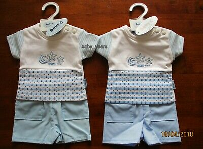Premature Baby Outfit Set Boys Shorts & T-Shirt Small Clothing Summer 3-5 5-8Lb