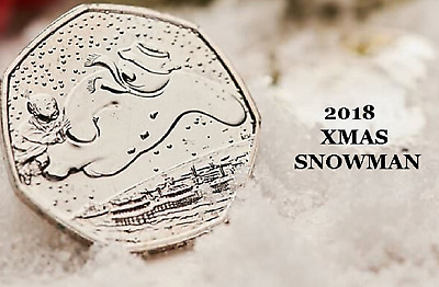CHEAPEST RARE 50P 2018 BRAND NEW Snowman coin Royal Mint Fifty Pence  BU COINS