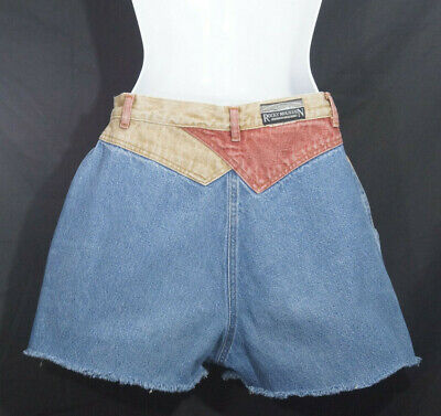 1980's Jean Shorts Vintage Denim Cut0ffs Rocky Mountain Western High Waist Yokes