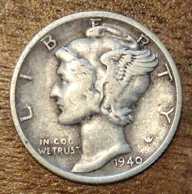1940-S Silver Mercury Dime  - Low Shipping