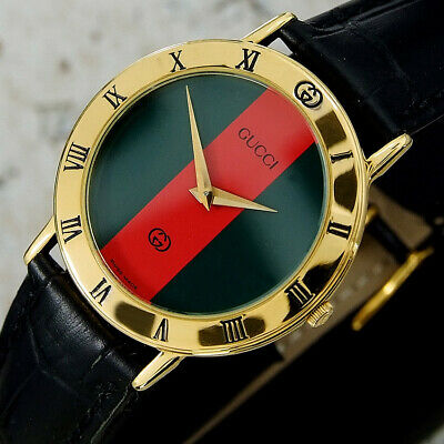 408f6b981db Authentic Gucci 3000M Gucci Stripe Dial Gold Plated Quartz Mens Wrist Watch