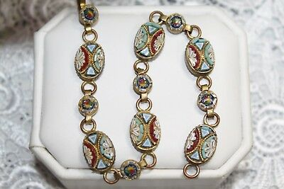 Fine Antique PIETRA DURA Micro Mosaic GOLD GILT oval Panel bracelet 7.5""