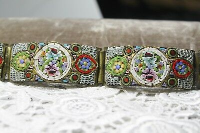 Fine Antique PIETRA DURA Micro Mosaic GOLD GILT Wide Panel bracelet
