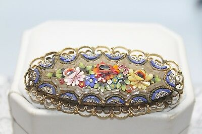 Fine Antique PIETRA DURA Micro Mosaic GOLD GILT Filigree Brass Brooch 2 1/2""