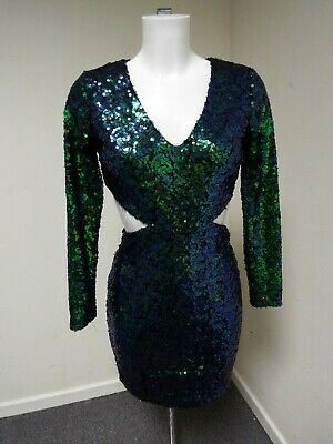 bd46b139 Boohoo Boutique Ava Metallic Green/Blue Sequin Bodycon Dress UK 10 - BNWT